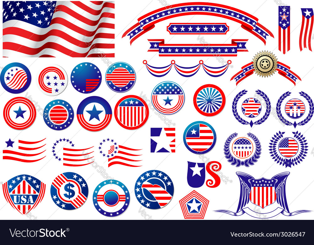 Patriotic american badges and labels vector