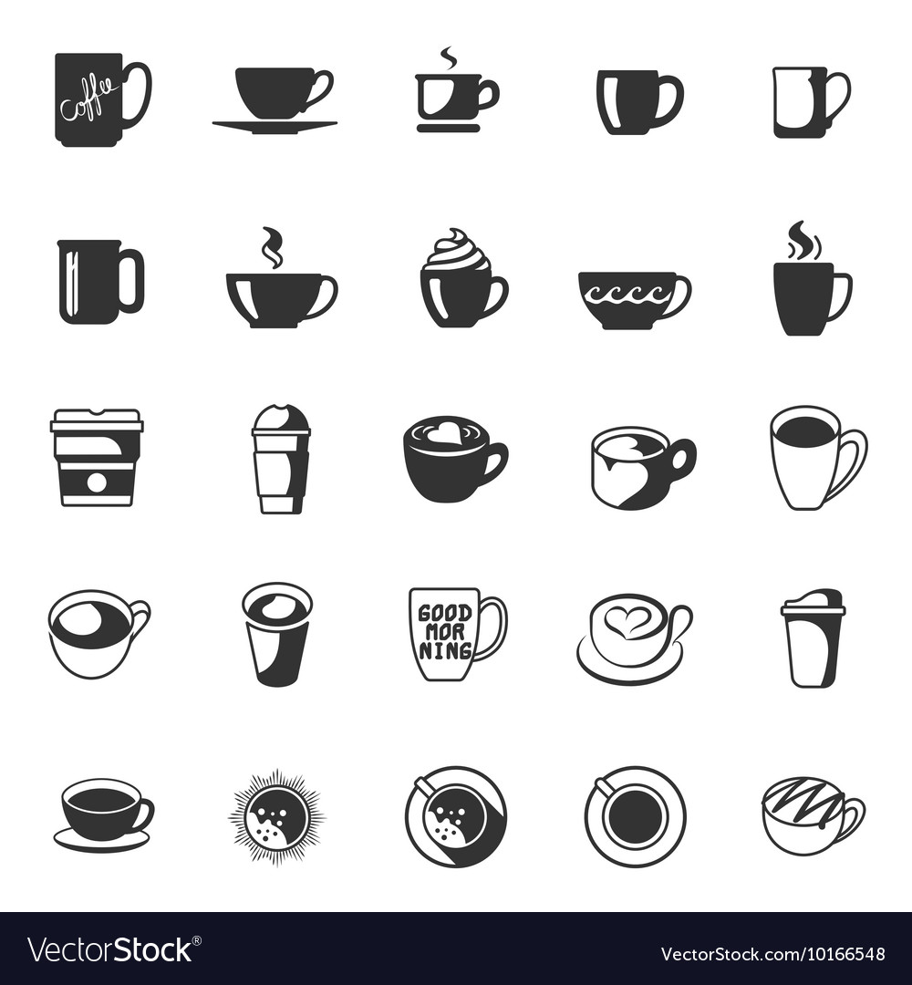 Coffee cup collection icons set for cafe vector
