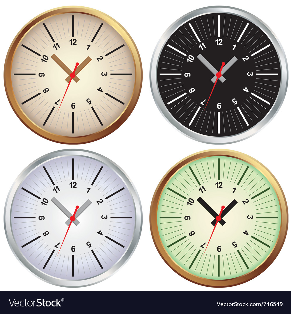 Metal clock office vector