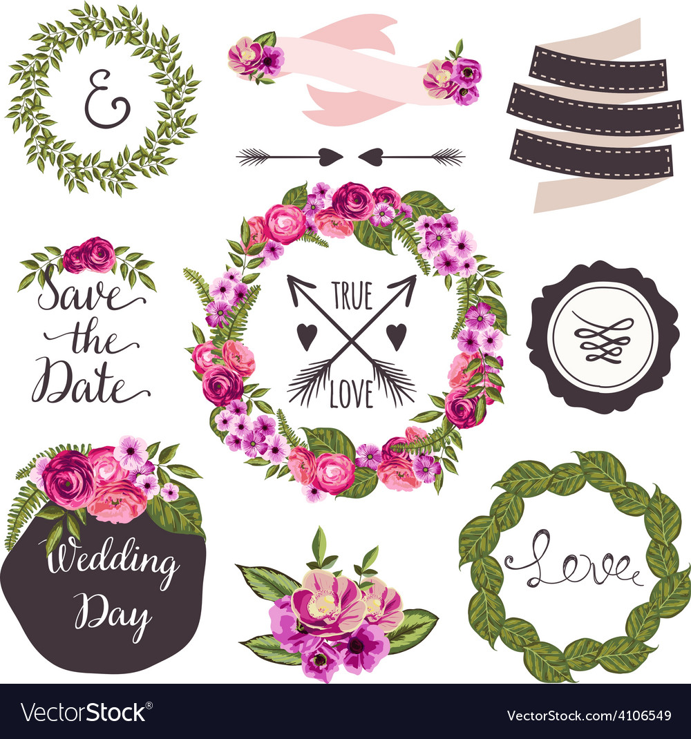 Wedding collection with handdrawn flowers and vector