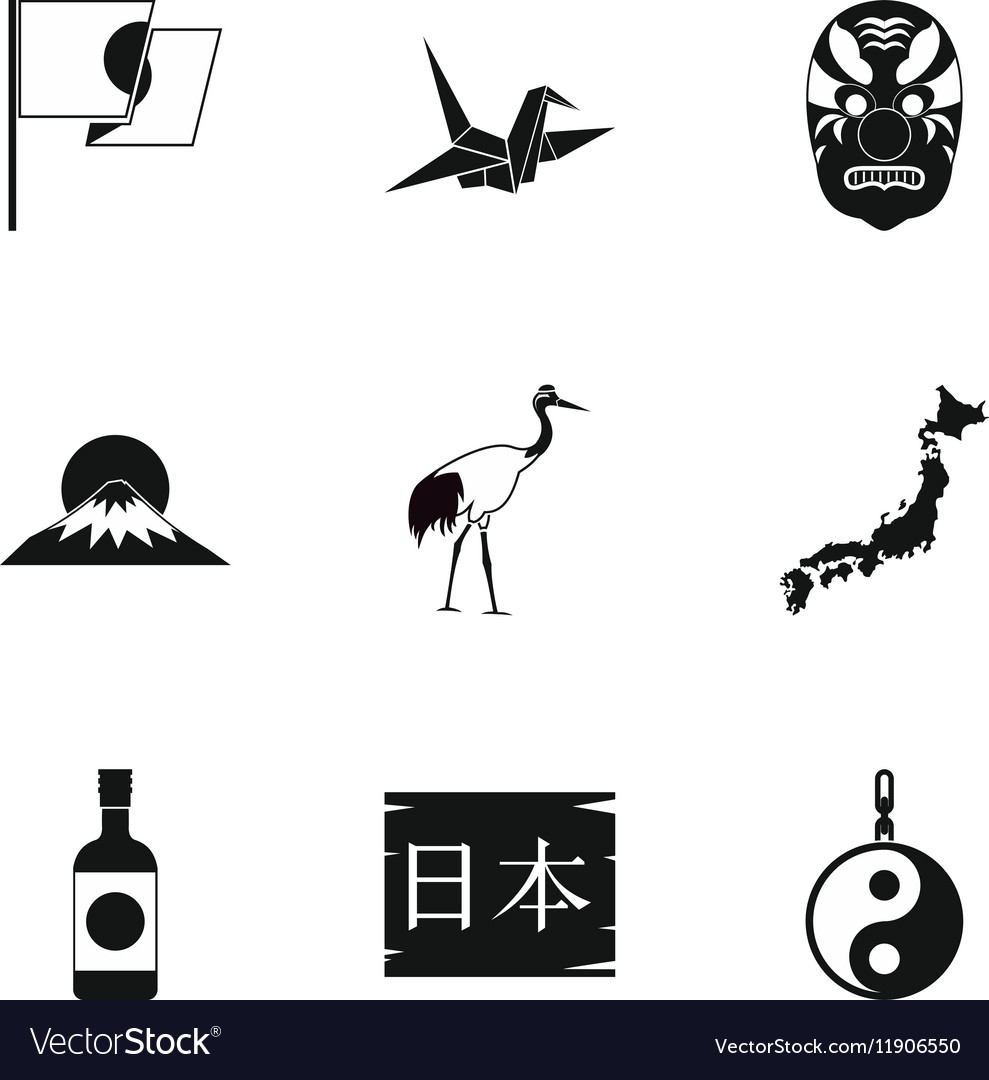 Japan icons set simple style vector