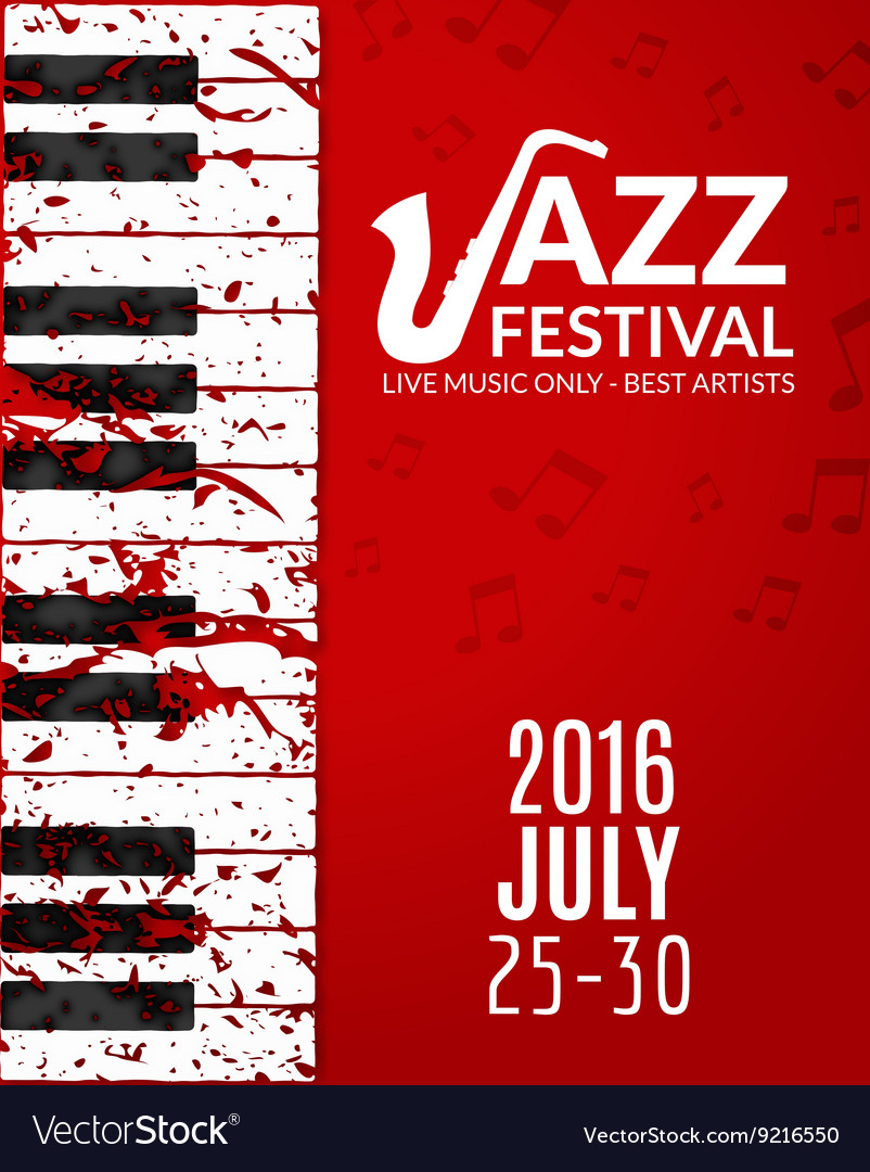 Jazz festival poster with a saxophone musical vector
