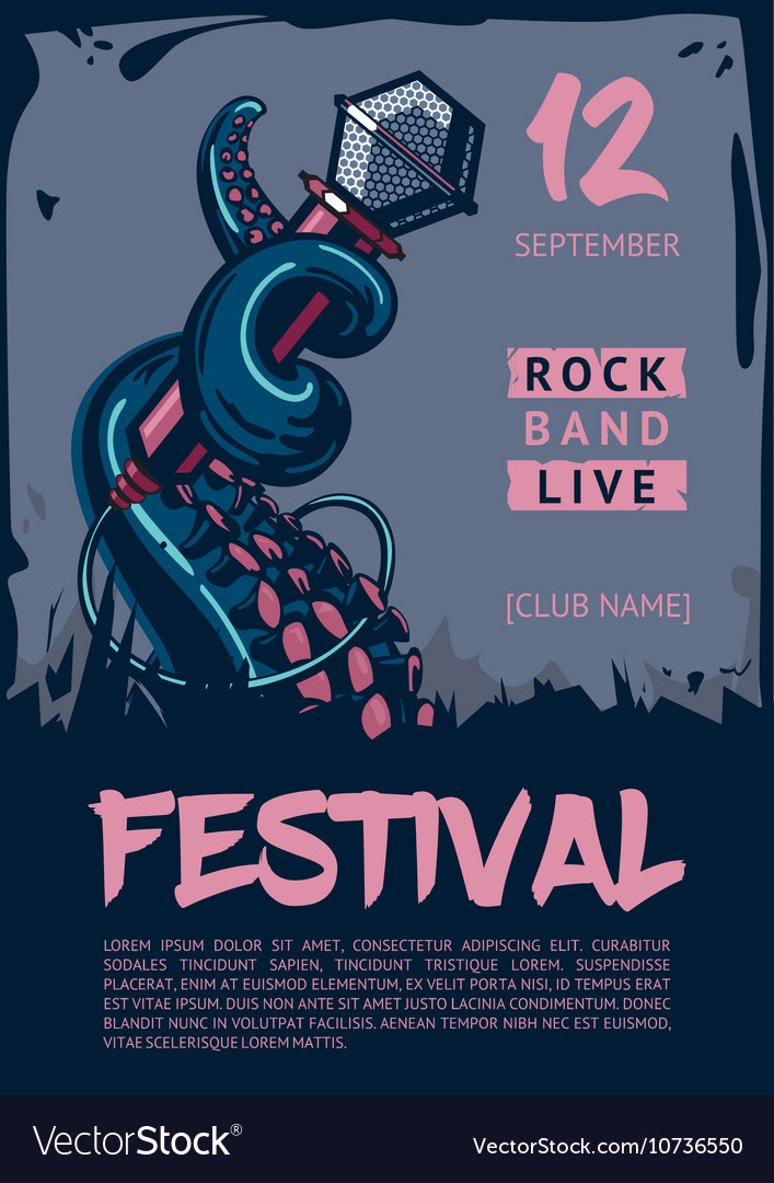 Music poster template for rock concert octopus is vector