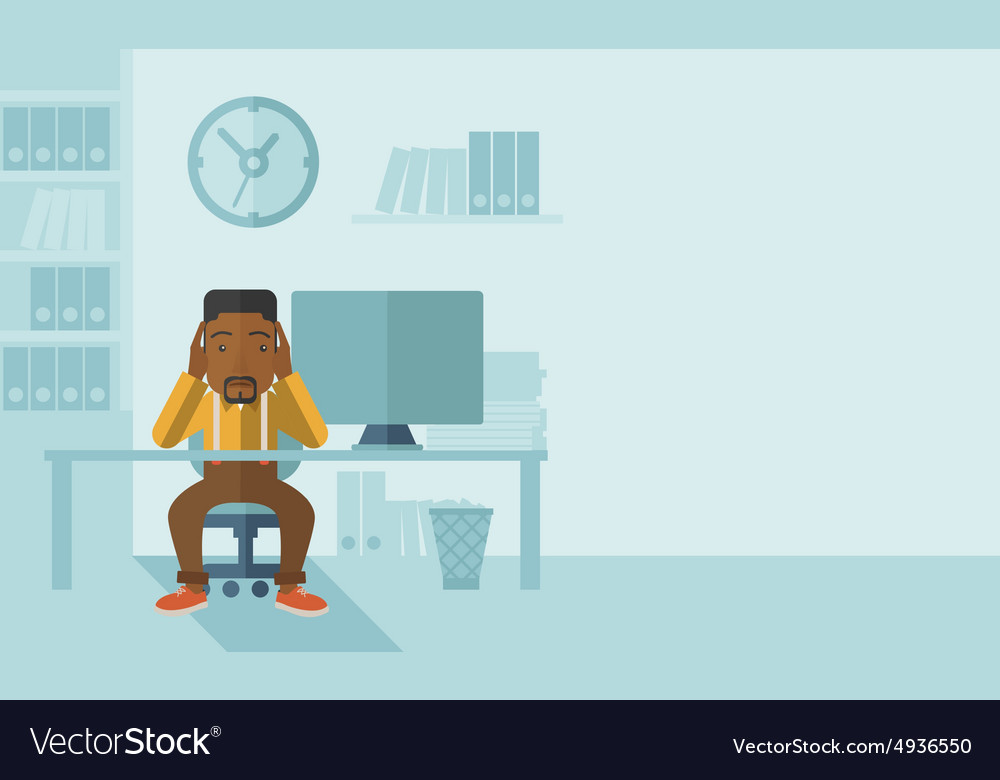 Overworked businessman is under stress vector