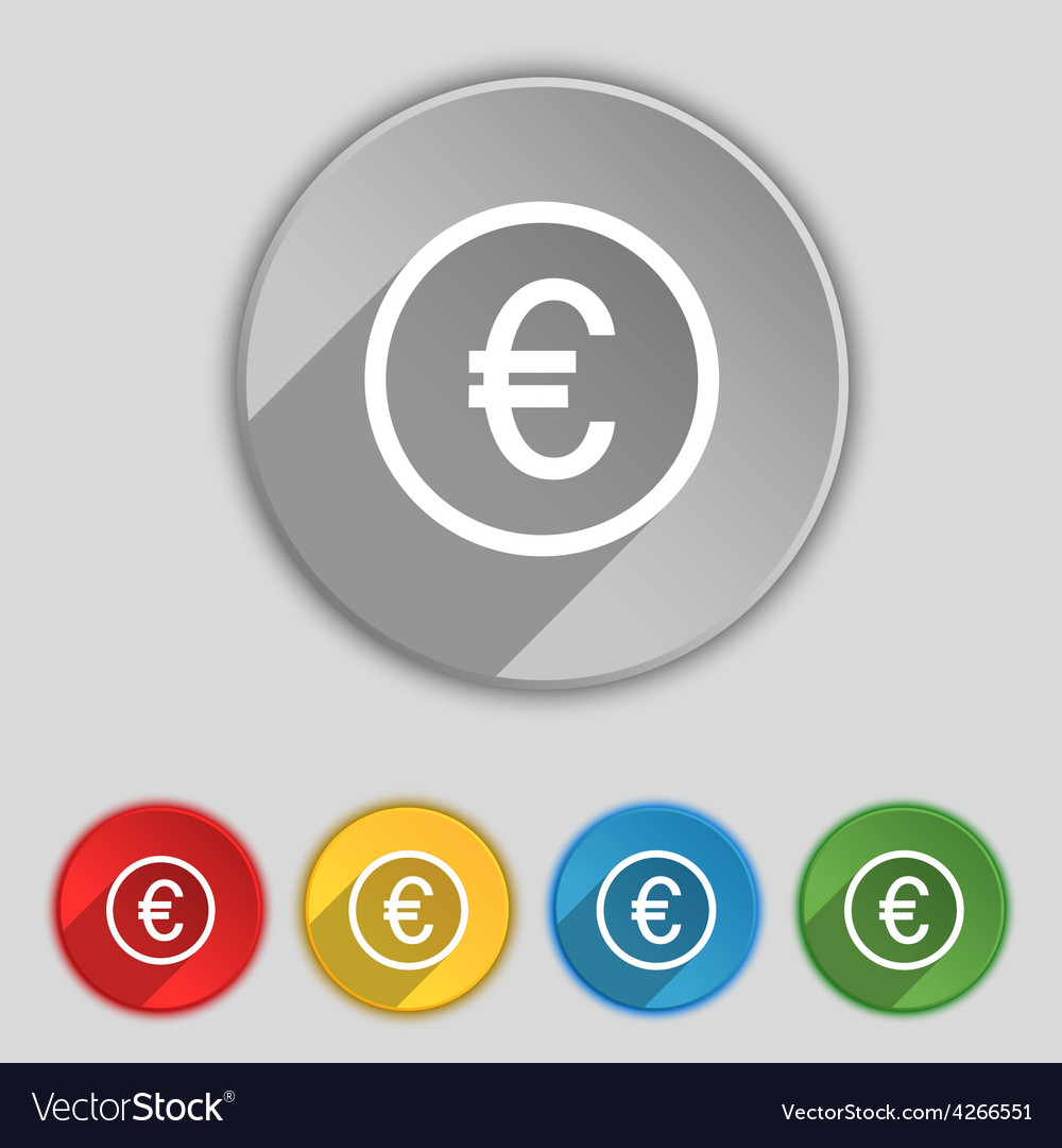 Euro icon sign symbol on five flat buttons vector