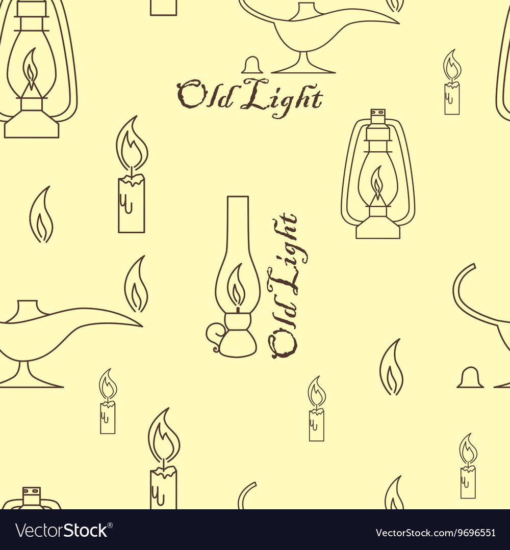 Old light sources seamless pattern on beige yellow vector