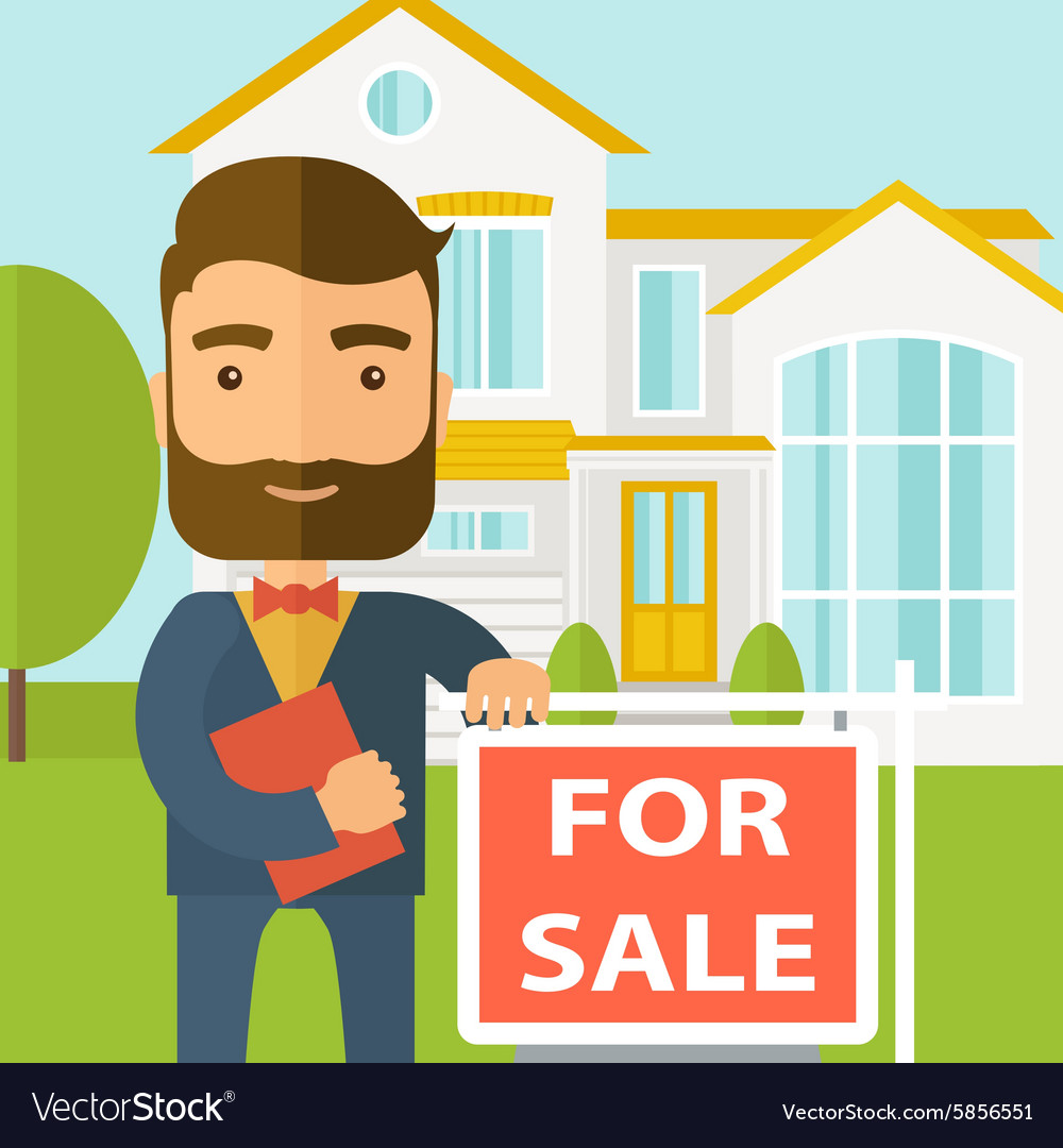 Real estate agent standing beside the for sale vector