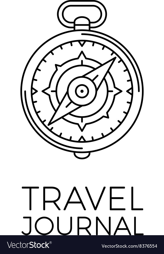 Retro thin line travel outline vector