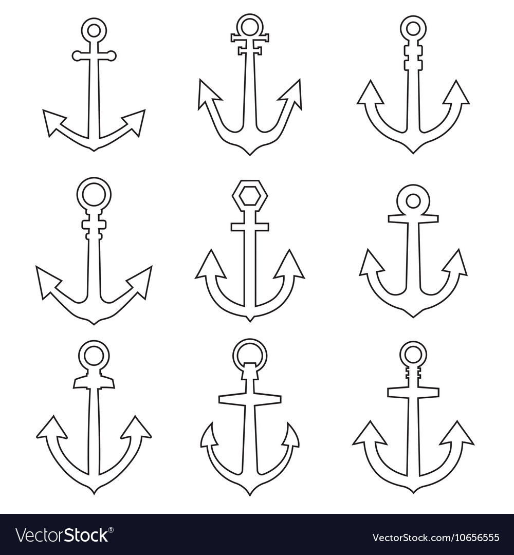 Set of anchors line style vector