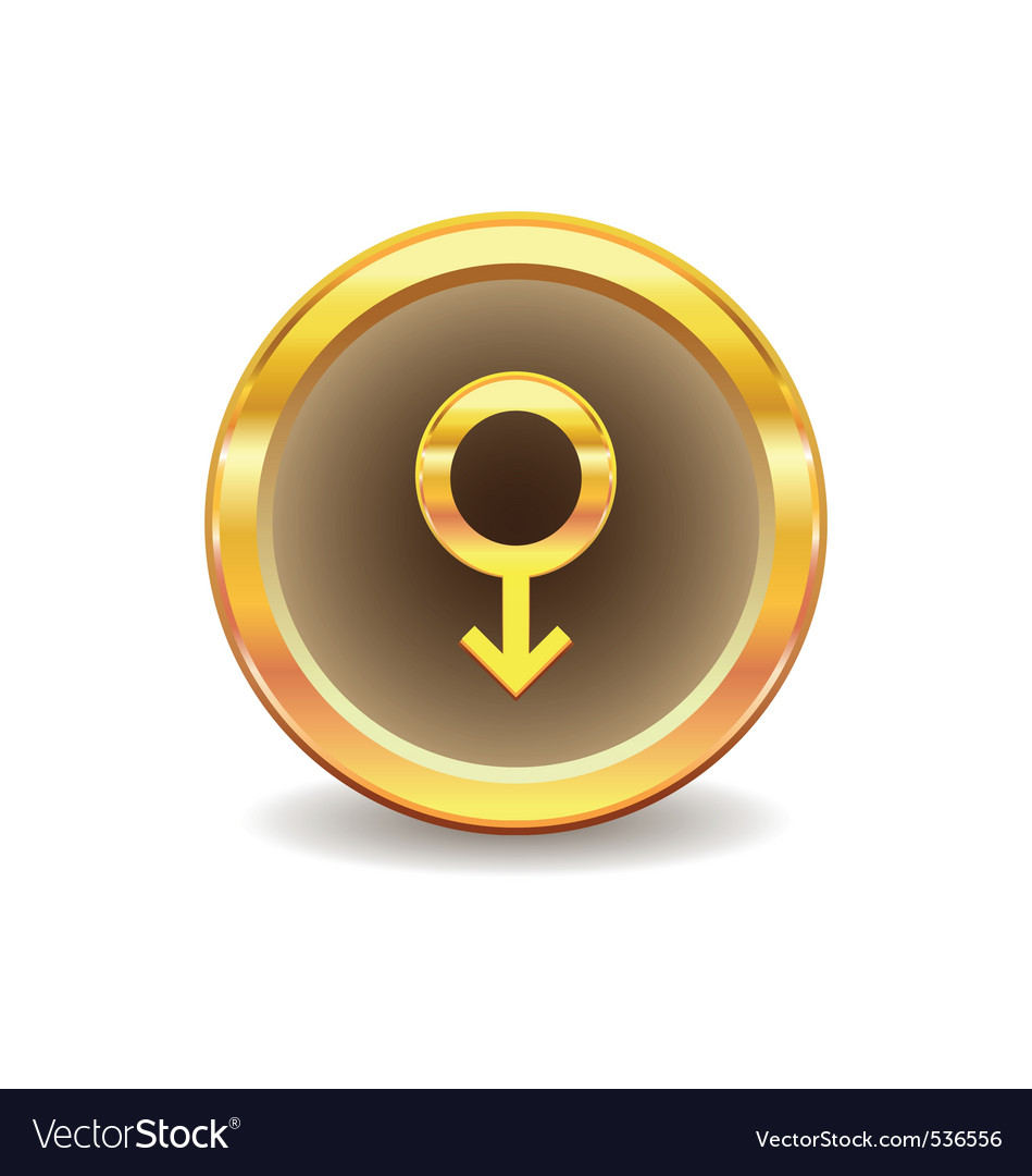 Gold button with male sex symbol vector
