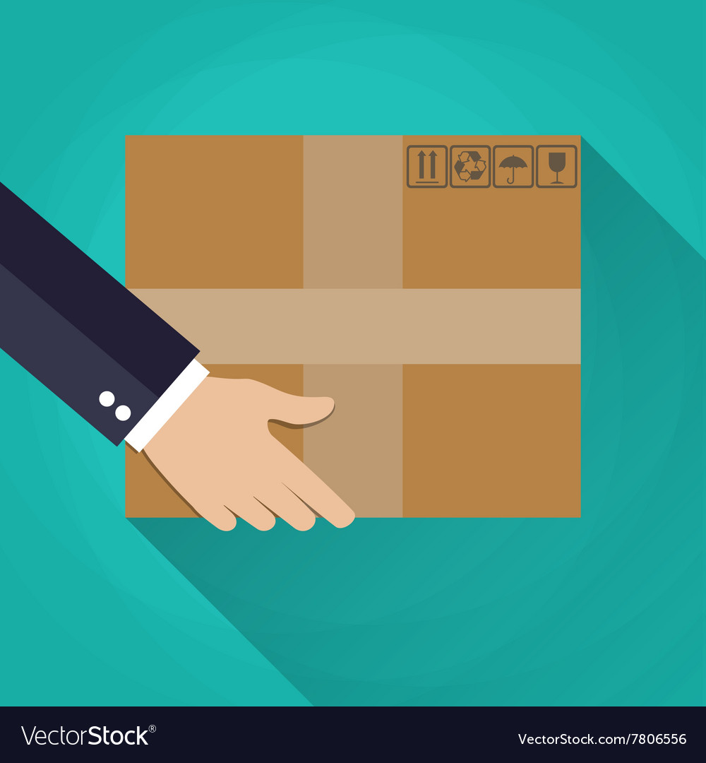 Hand carrying a cardboard box vector
