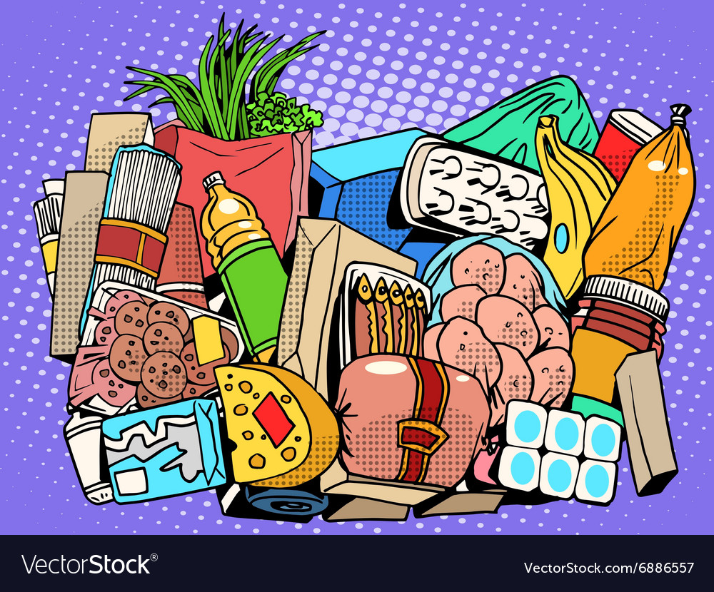 Set of products and food goods vector