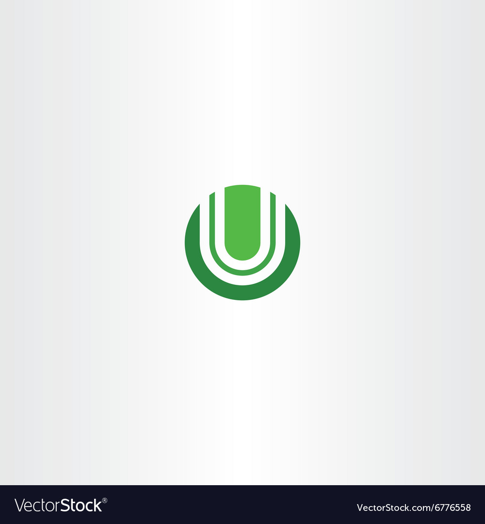 Green circle logotype u logo letter u icon vector