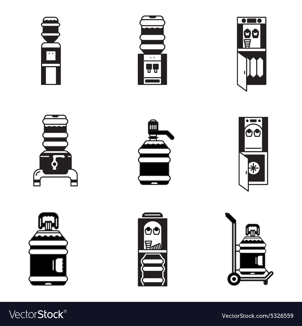 Black icons for water cooler vector