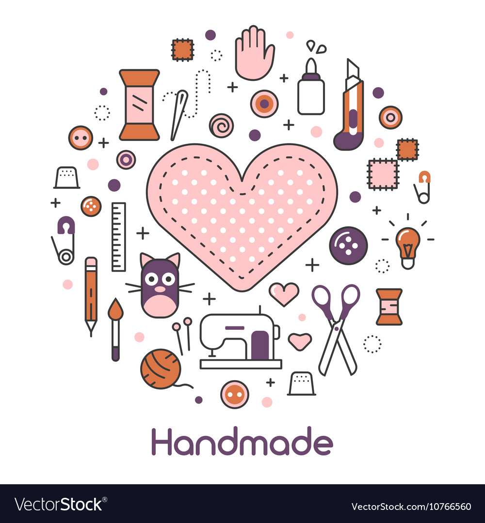 Hand made sewing crafting line art thin icons set vector