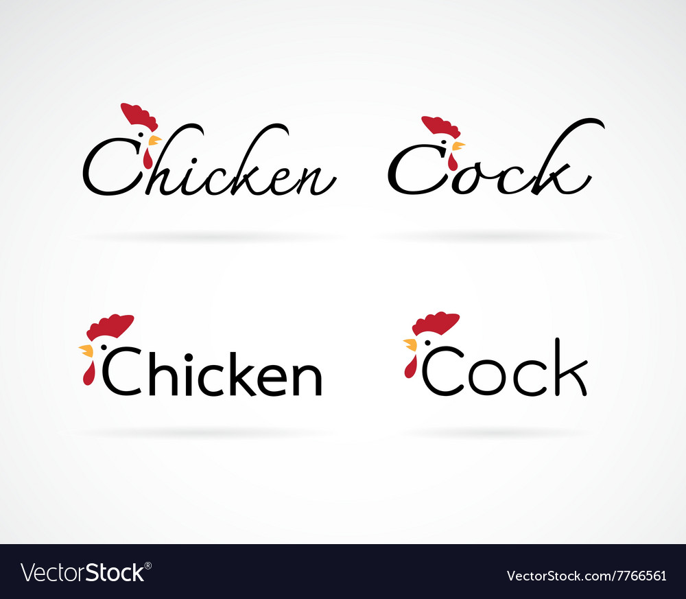 Design chicken and cock is text vector