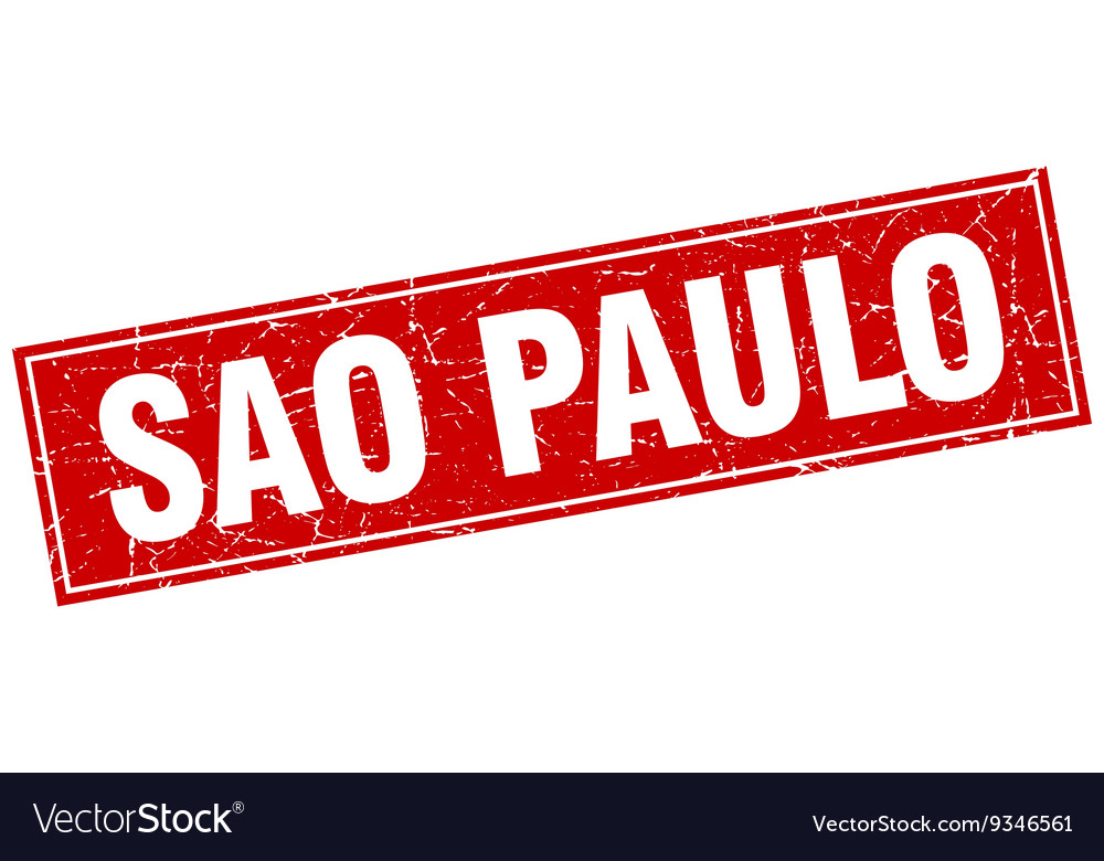 Sao paulo red square grunge vintage isolated stamp vector