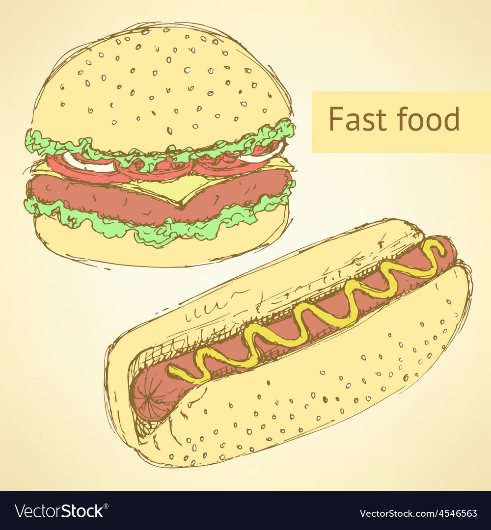 Sketch hot dog and hamburger in vintage style vector