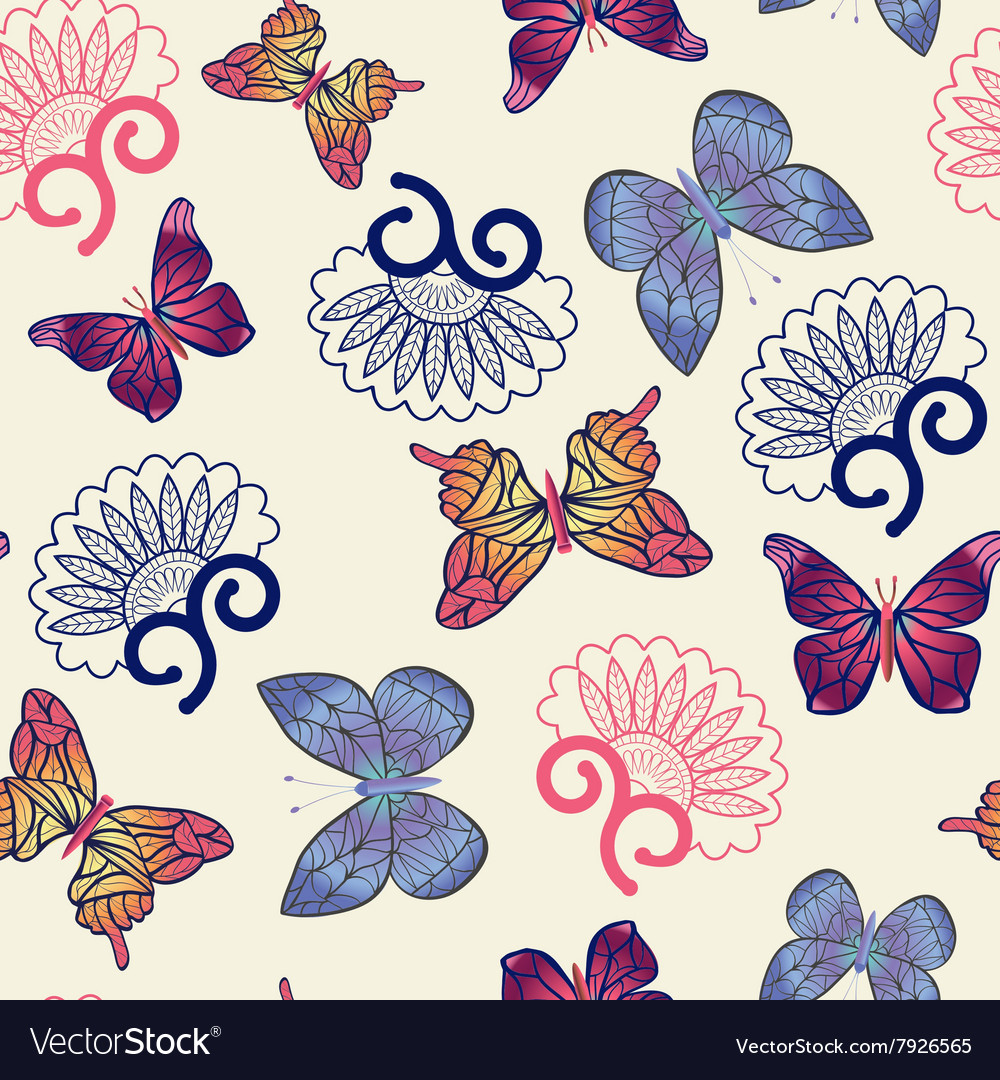 Pattern with flying butterflies vector