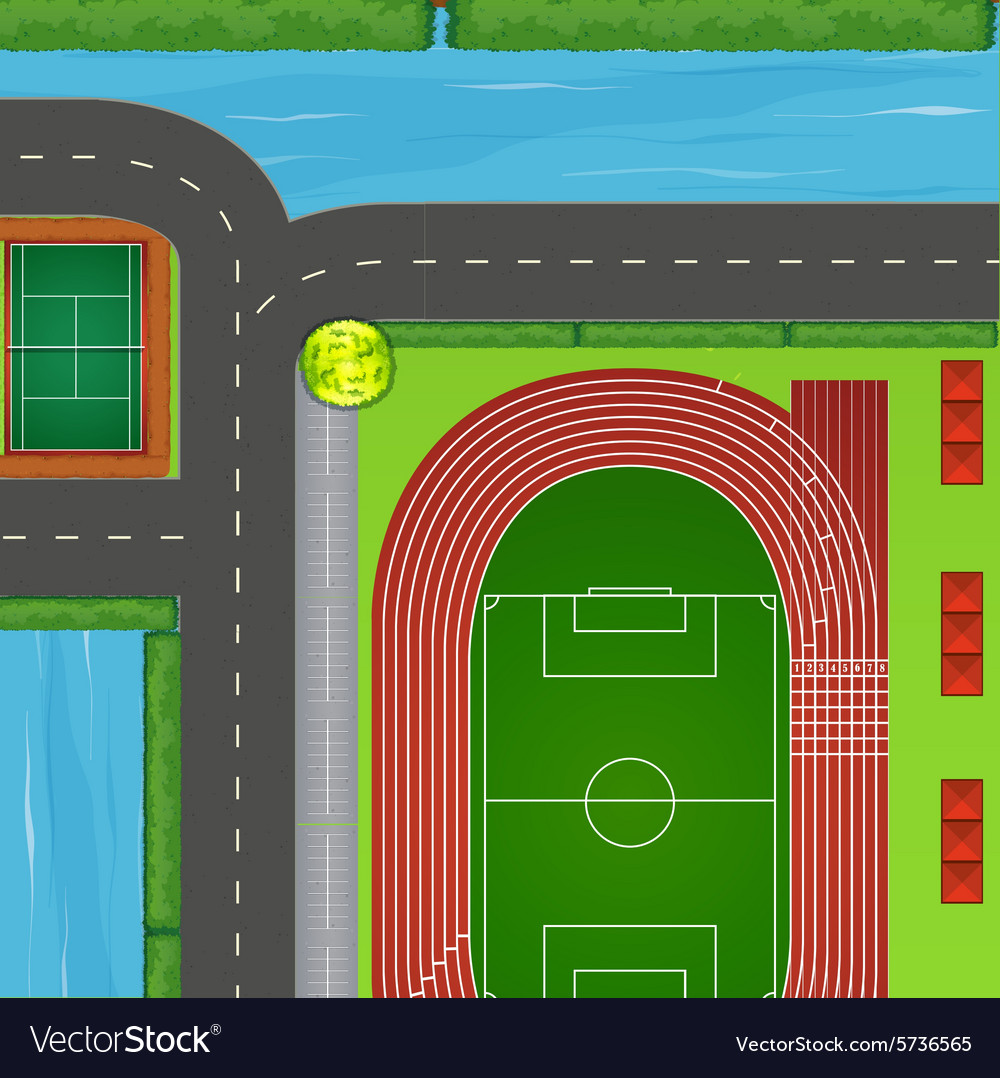 Top view of sport field and surrounding vector