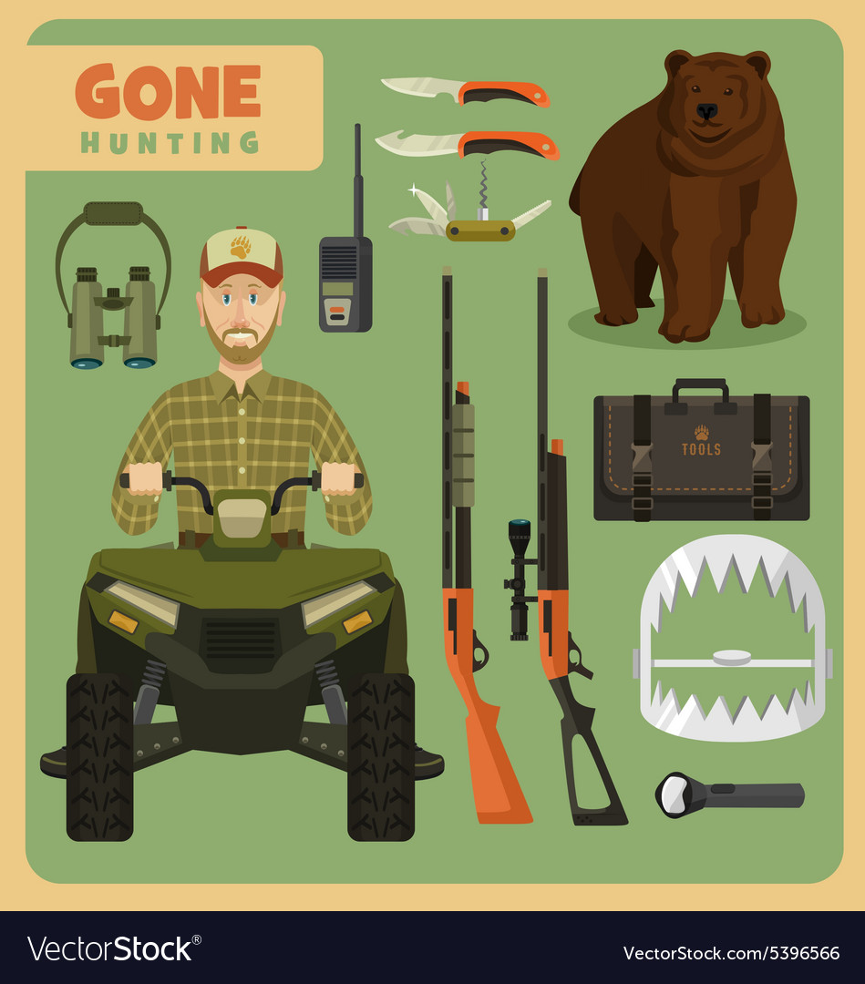 Gone hunting bear vector