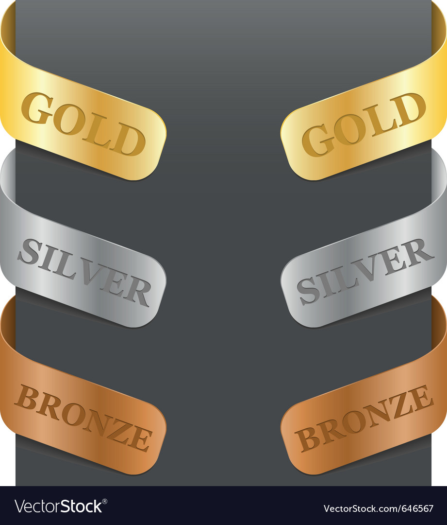 Left and right side signs  gold silver bronze vector
