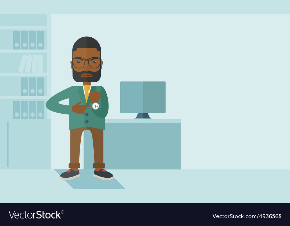 Black man is angry pointing his watch vector