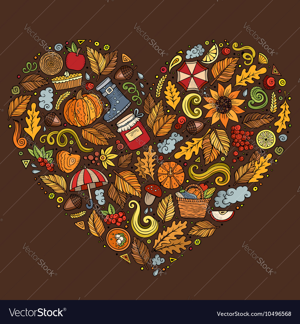 Doodle cartoon set of autumn objects symbols and vector