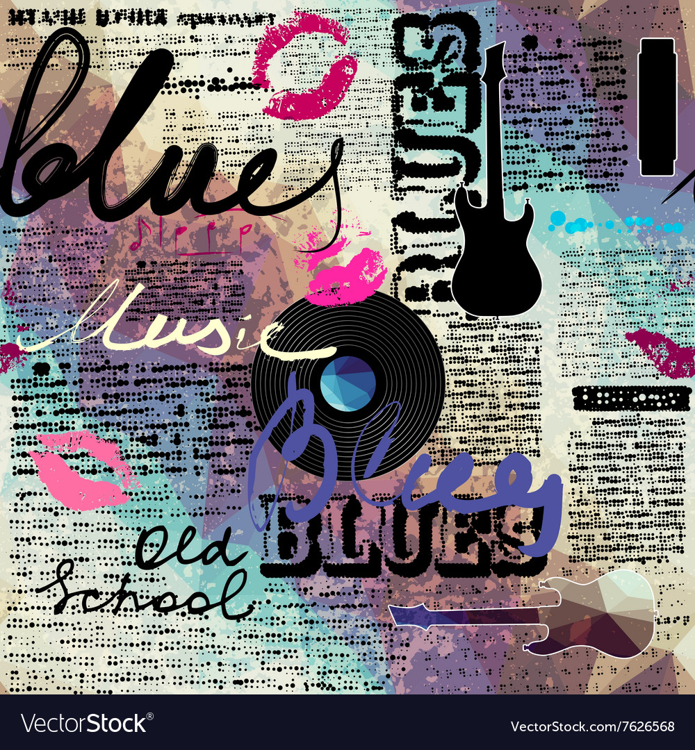 Grunge blue newspaper with original inscriptions vector