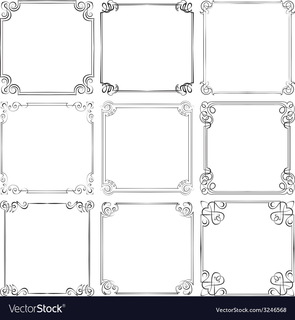 Set of different decorative frames vector