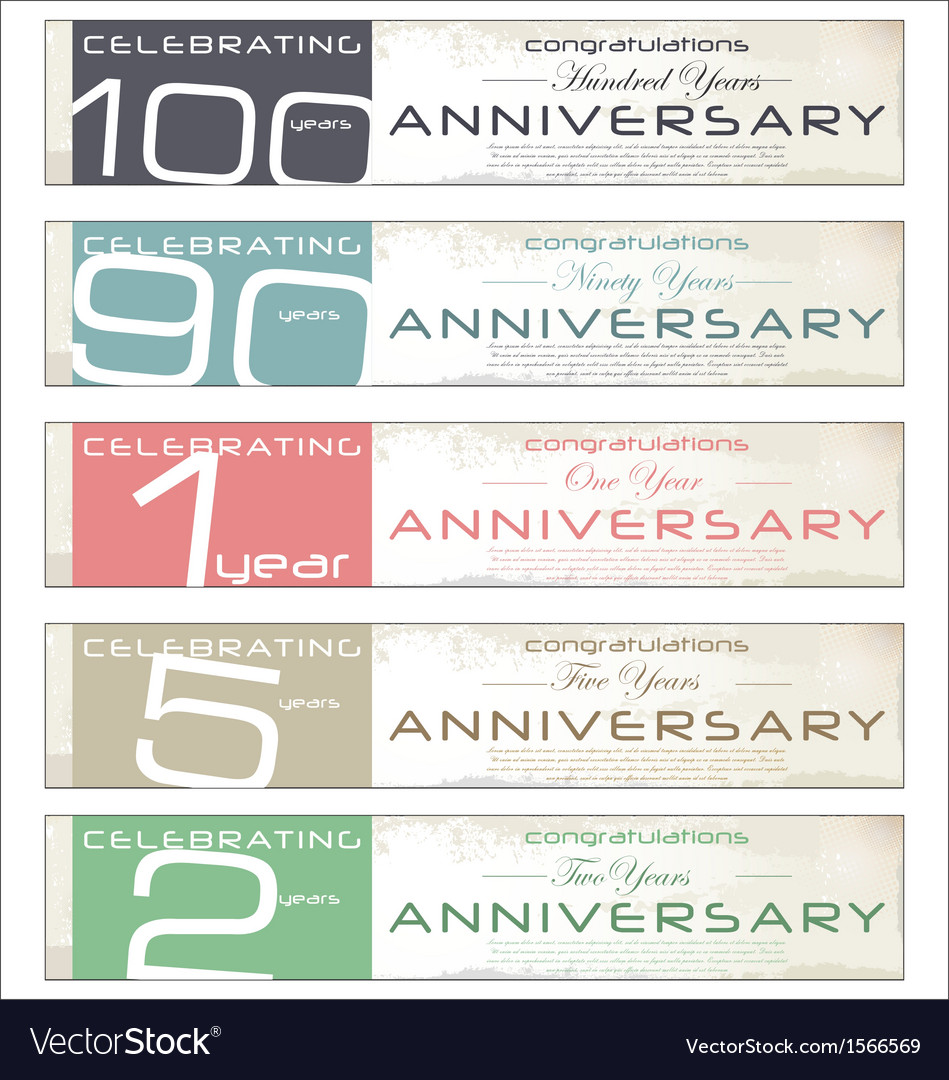 Anniversary retro banner set vector