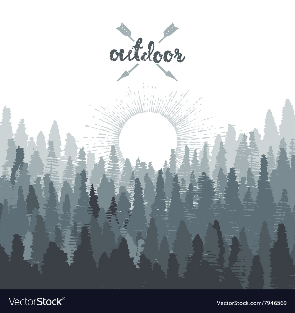 Pine forest mountains sunrise drawn sketch vector