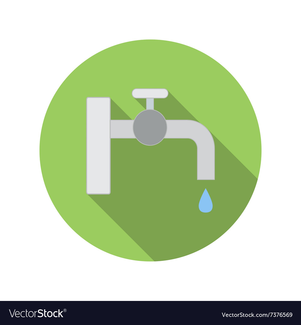 Water tap with drop flat icon vector