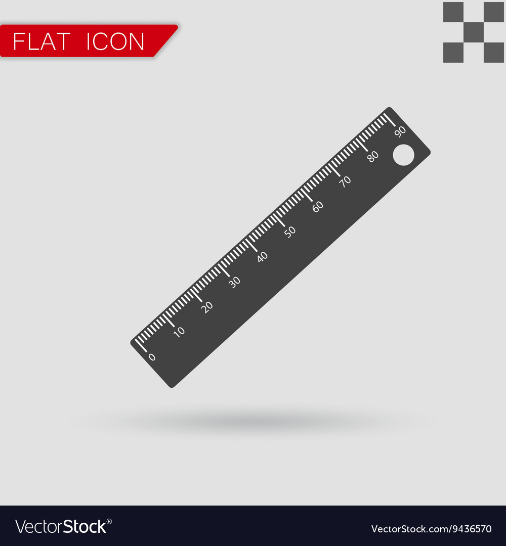 Ruler icon flat style with red vector