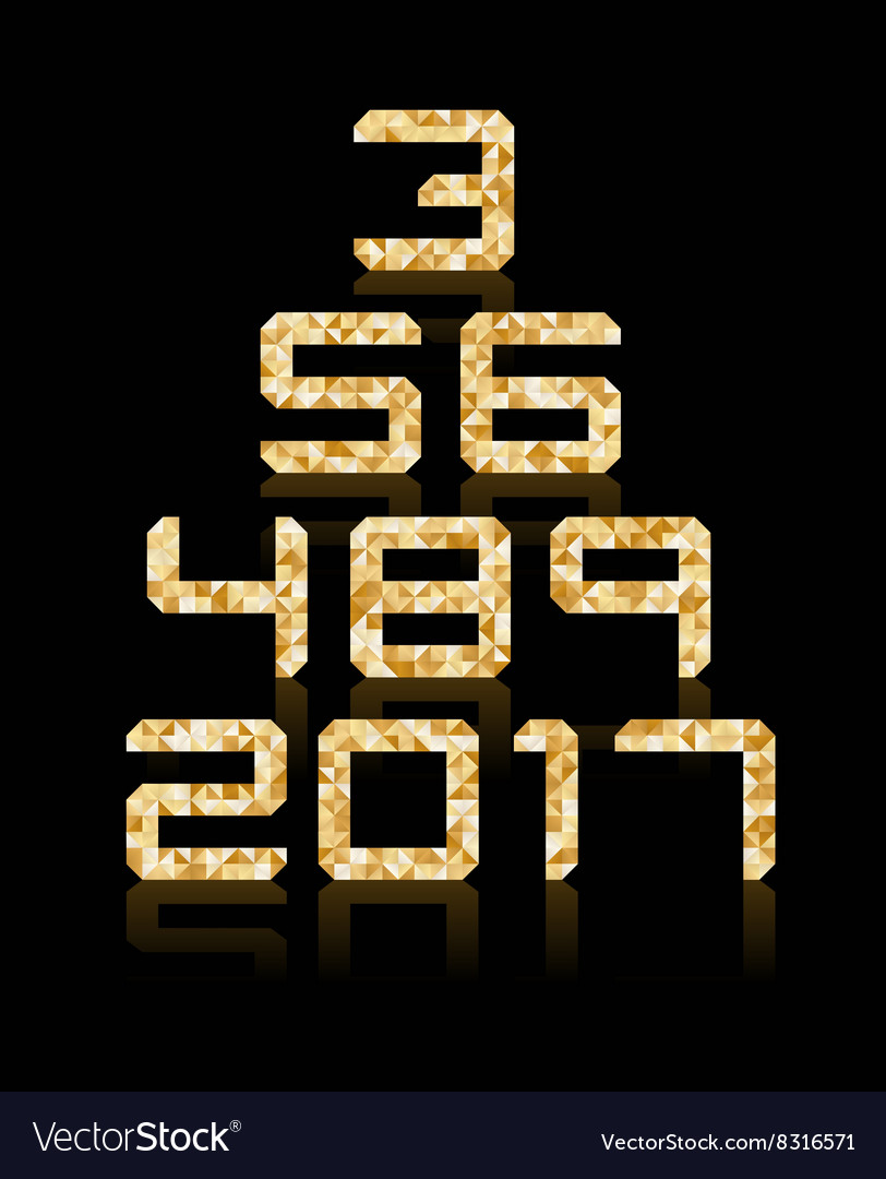 Golden number set with transparent reflections vector
