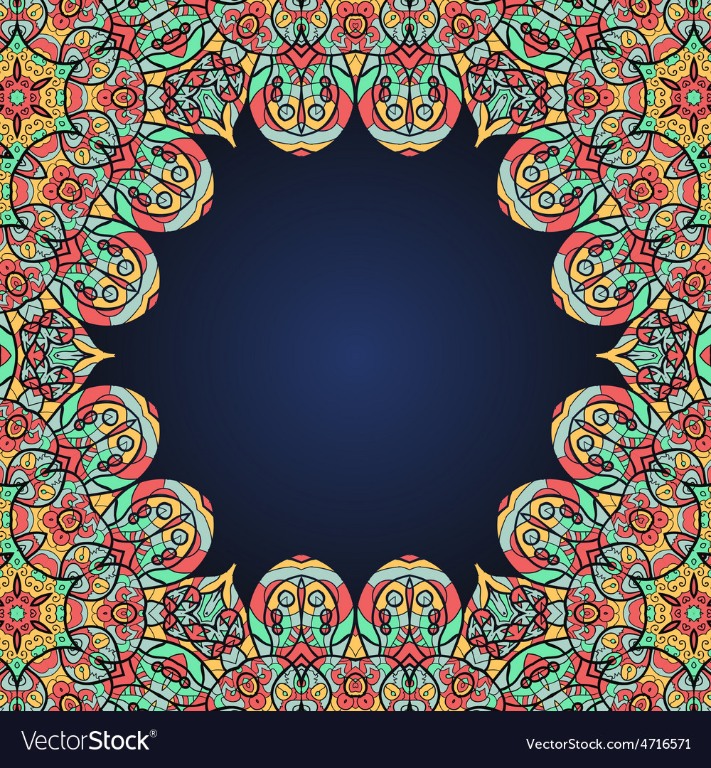 Mandala frame for text in oriental style vector