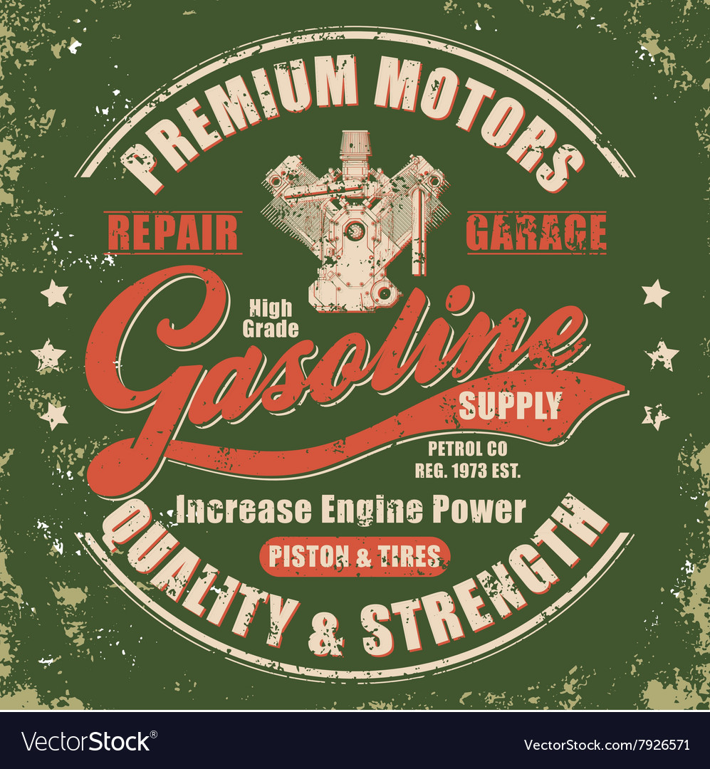 Vintage gasoline retro label vector