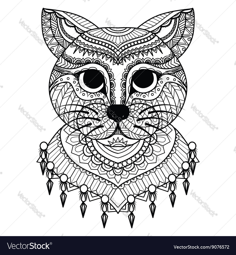 Clean lines doodle art of cute cat for coloring bo vector