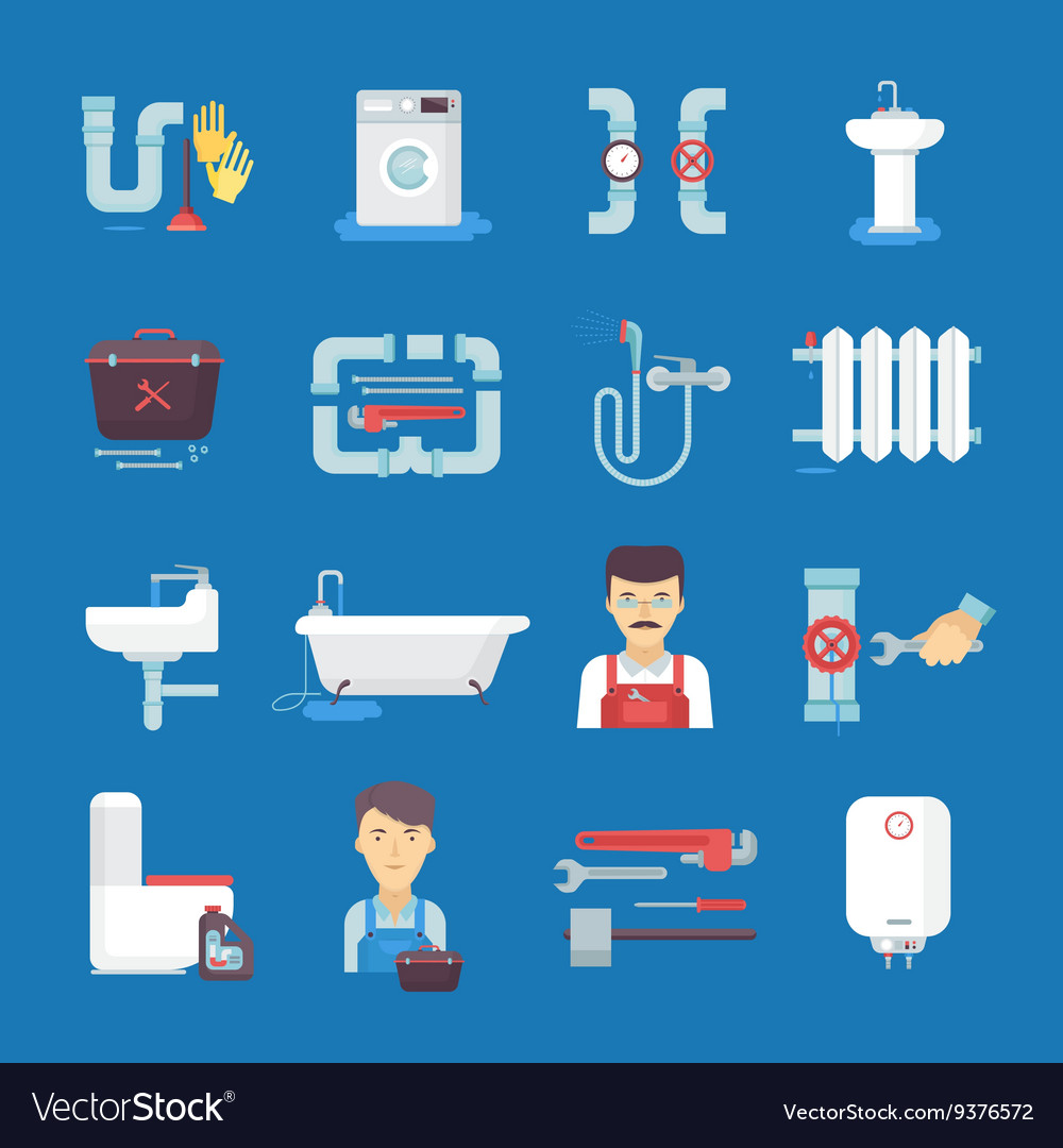 Plumbing flat icons collection blue background vector