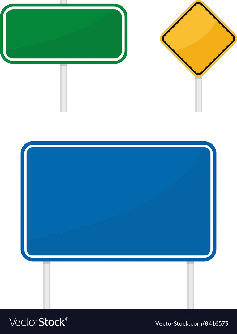 Blank green blue yellow warging information road vector