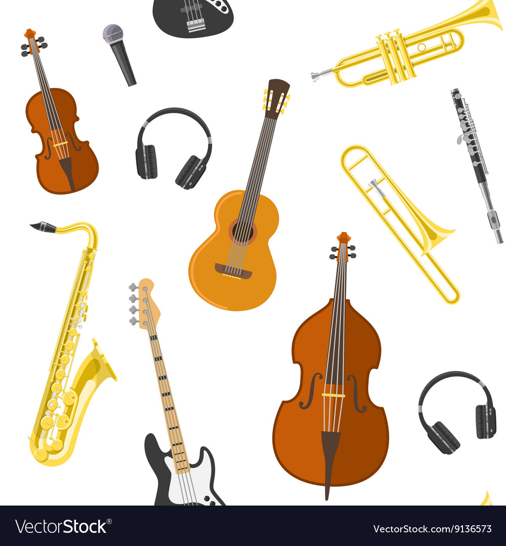 Flat music pattern vector