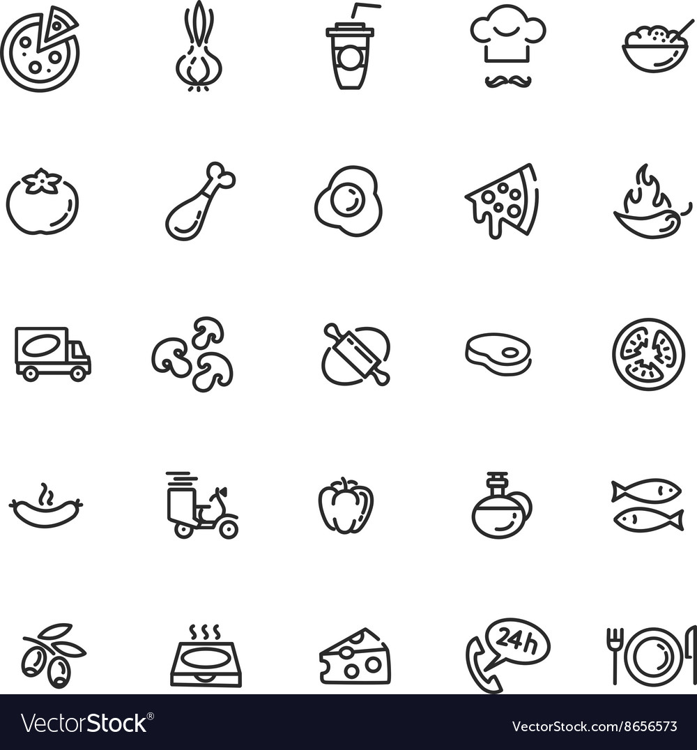 Italian traditional pizza  web icons set vector