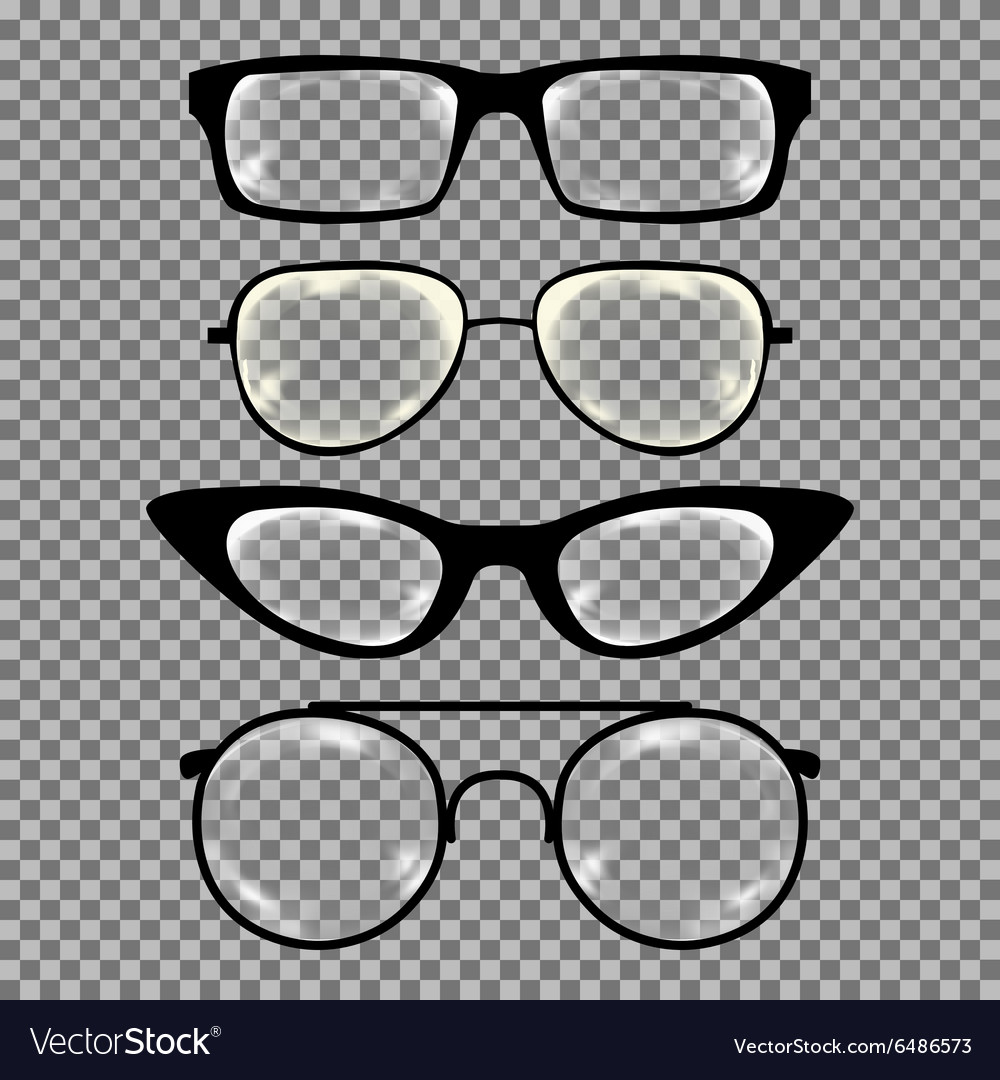 Set of custom glasses isolated vector