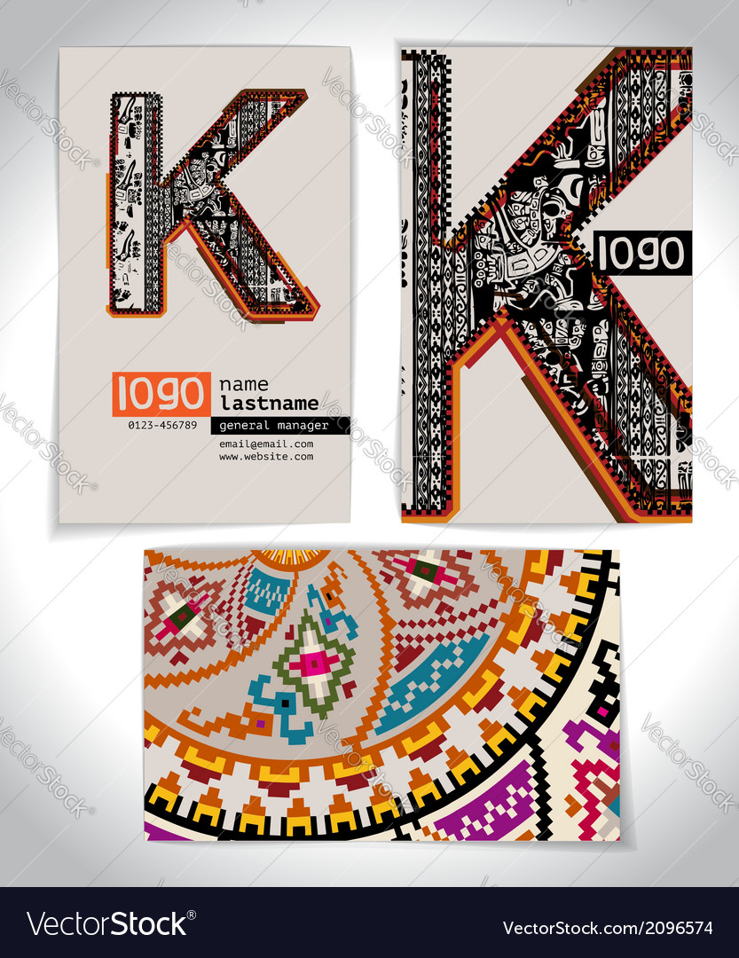 Ancient business card design letter k vector