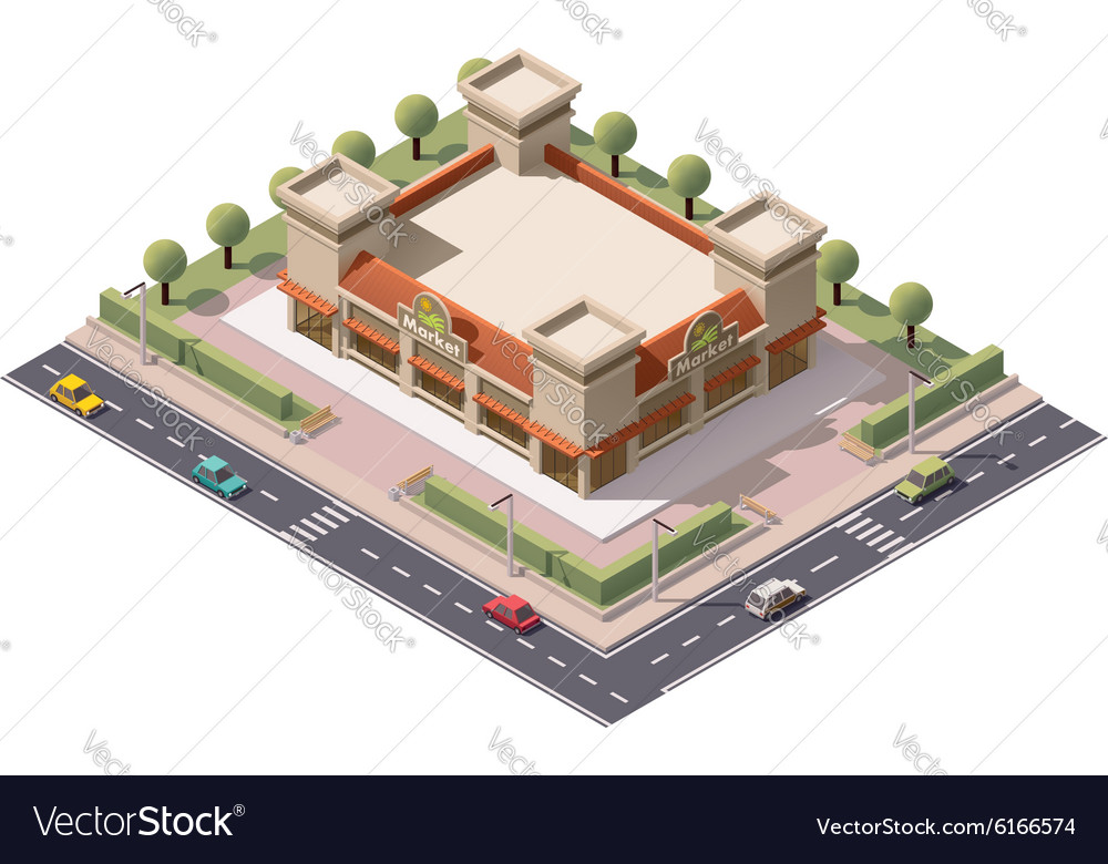 Isometric indoor market vector