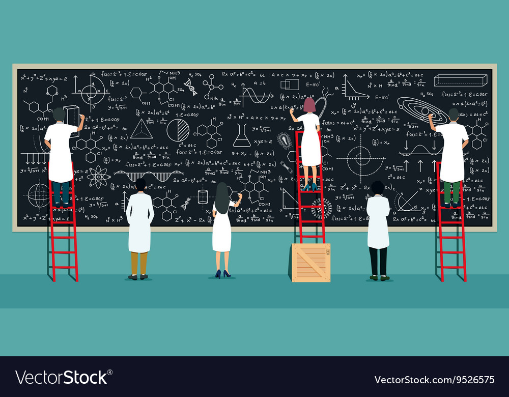 Scientists writing board vector