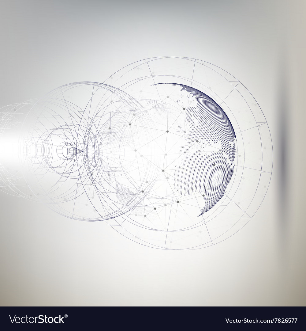 Threedimensional dotted world globe with abstract vector