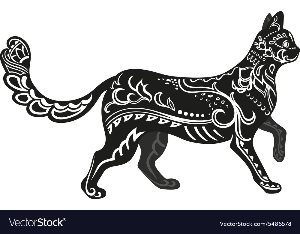 Ethnic ornamented cat vector
