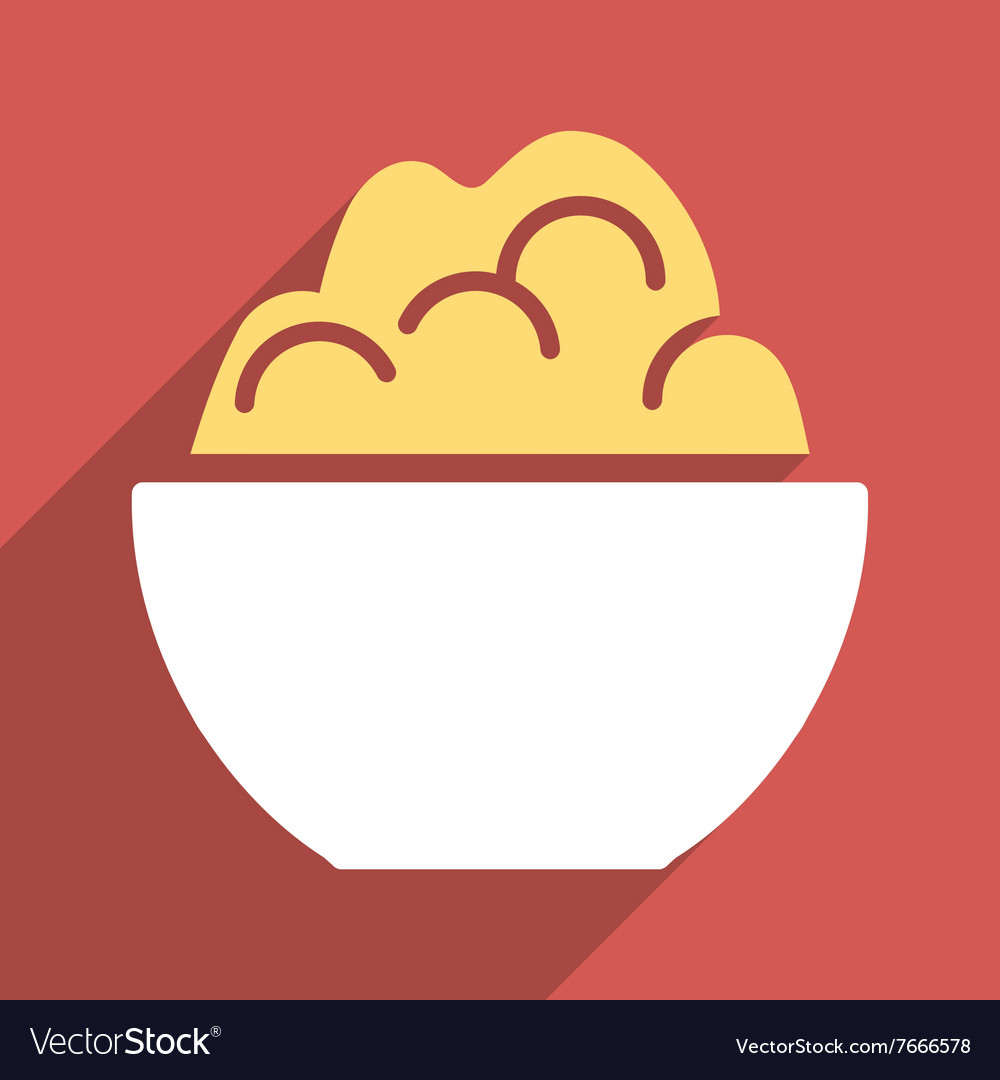 Porridge bowl flat longshadow square icon vector