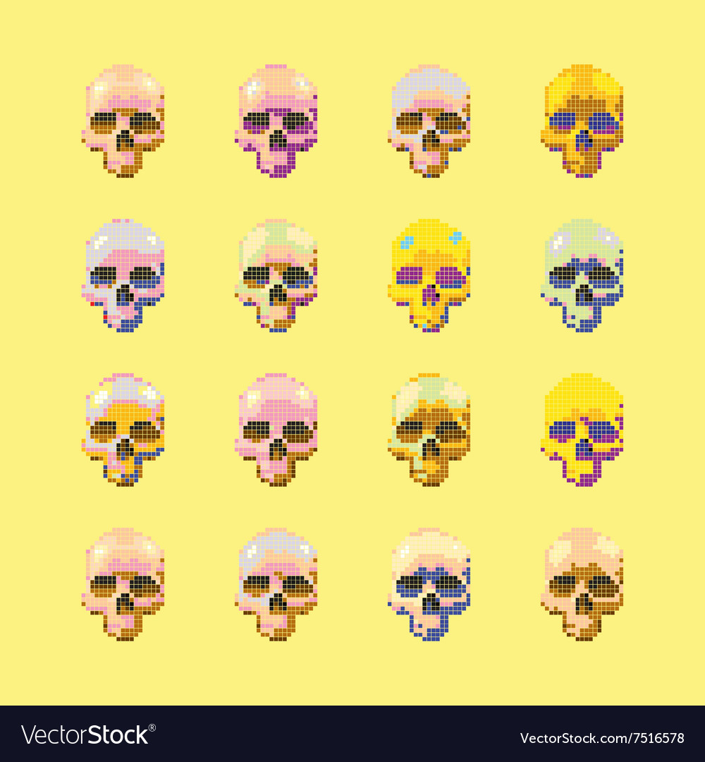 Set of stylized skull on a yellow vector